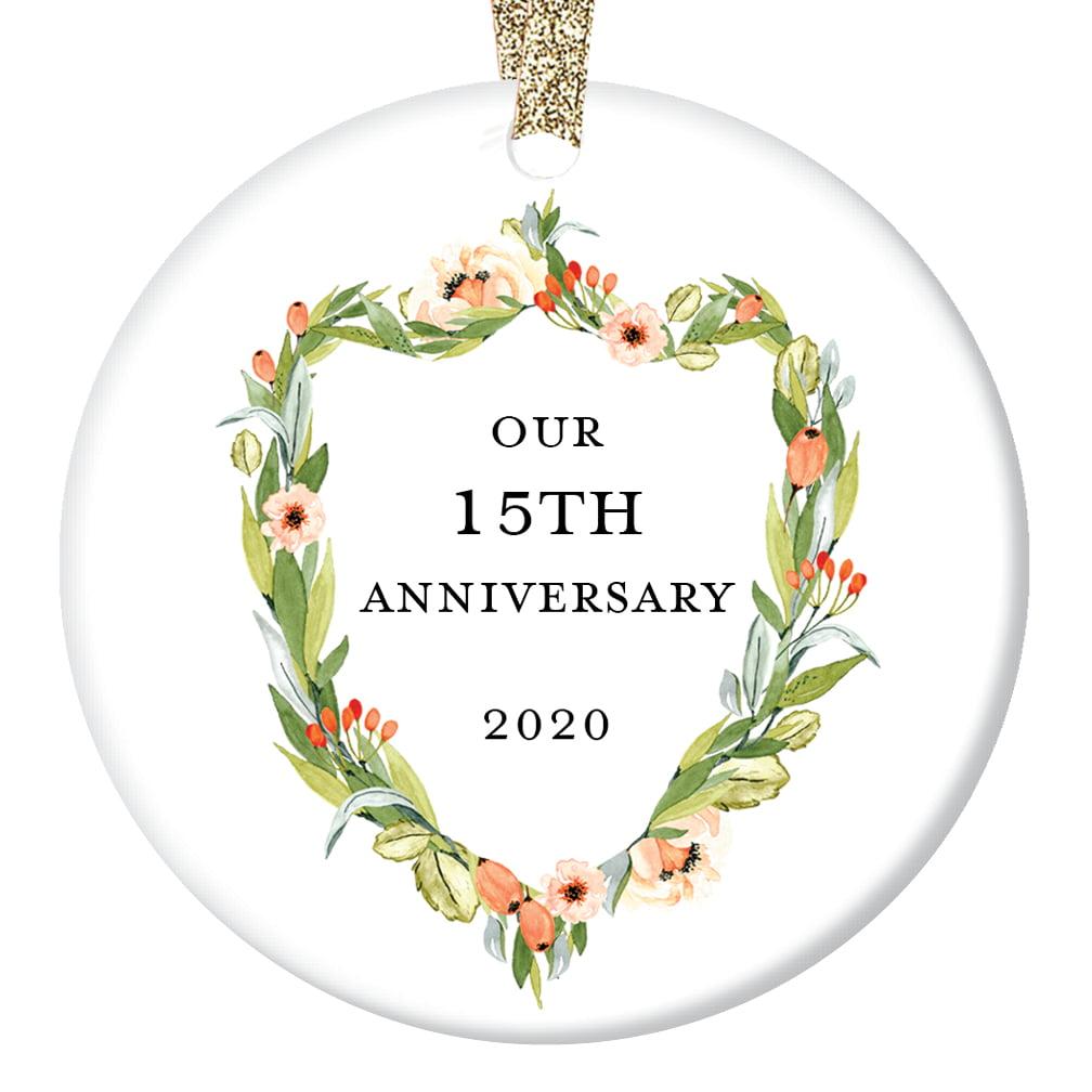15th Anniversary Gifts Fifteenth Christmas Ornament 2020 15 Years Together Couple Husband Wife Love Wedding Anniversaries Ceramic Present Keepsake 3 Flat Porcelain With Gold Ribbon Free Box Walmart Com Walmart Com