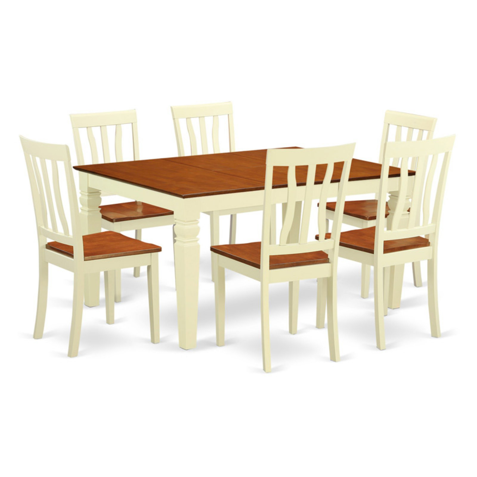 East West Furniture Weston 7 Piece Splat Back Dining Table Set