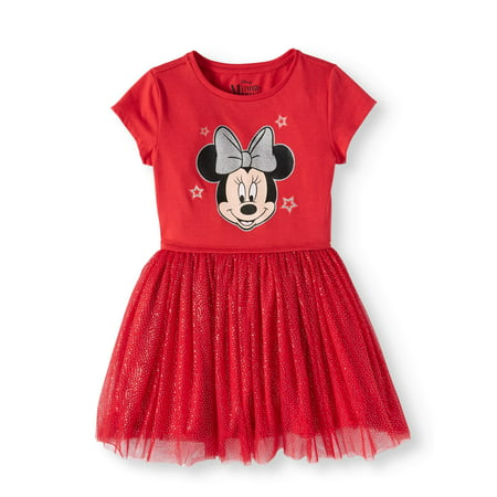 Minnie Mouse Foil Mesh Dress (Little Girls and Big (Mesh Panel Dress)