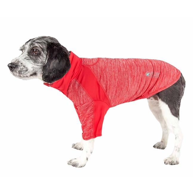 Pet Life LTHL1RDMD Active Chewitt Wagassy 4-Way Stretch Performance Long Sleeve Dog T-Shirt, Red - Medium - image 1 de 1