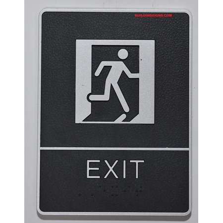 ADA EXIT Sign with Tactile Graphic (Black,6x9 Comes with Double Sided Tape)- The Leather Sheffield ADA line ()