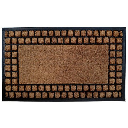 Imports Dcor Checker Border Coir/ Rubber Door Mat
