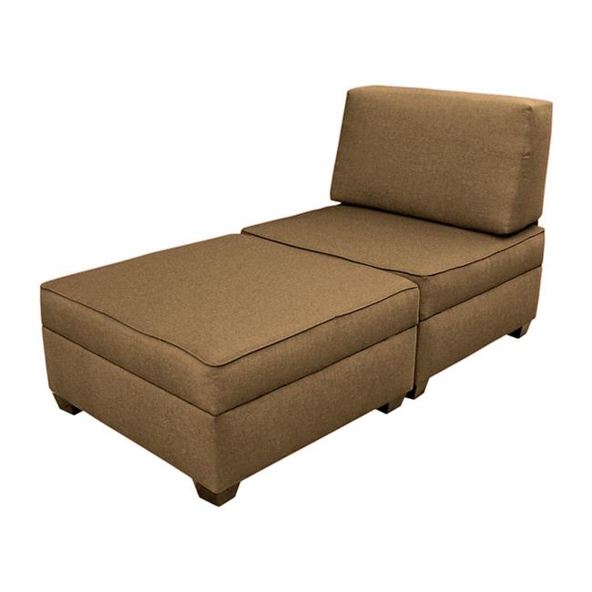 Duobed MFCL-BS 36 in. Chaise Lounge Plus 1 Storage Ottomans - Mocha