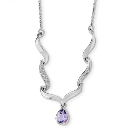 925 Sterling Silver Purple Amethyst White Topaz 2in. Extension Necklac Necklace Pendant Charm Fancy Gemstone Gifts For Women For (Fancy Cabochon 925 Silver Pendant)