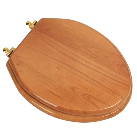 BathDecor Natural Red Oak Finish Designer Solid Elongated Oak Wood Toilet Seat with Polished Brass Hinges