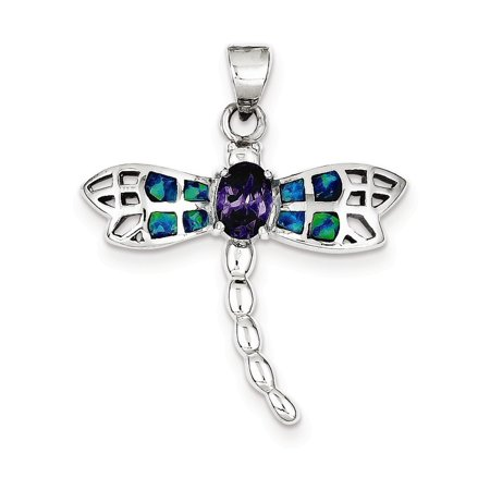 Sterling Silver Blue Inlay Created Opal Dragonfly Oval Amethyst Pendant