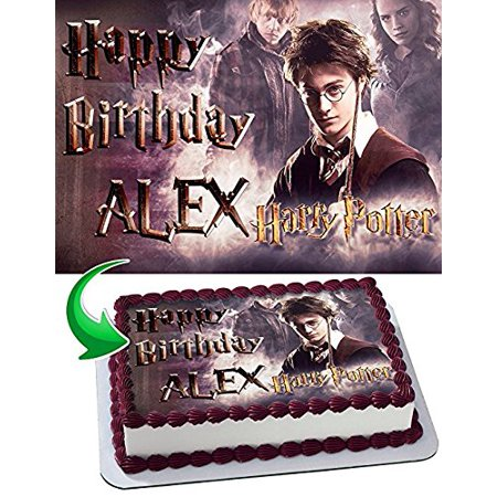 Harry Potter Edible Cake Topper Personalized Birthday 1/4 Sheet Decoration Custom Sheet Party Birthday Sugar Frosting Transfer Fondant Image Edible Image for cake (Custom Decorations)