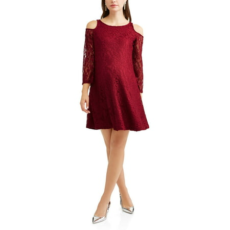 68797f4155760 Planet Motherhood - Maternity Floral Lace Cold Shoulder A-Line Dress -  Walmart.com