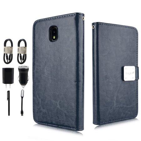 "Value Pack + for 5"" Samsung Galaxy J3 Star 2018 Orbit Amp Prime 3 Case Phone Eaglecell Wallet Detachable Bumper Mag Mount Pocket Screen Flip Cover navy blue"