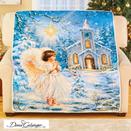 Angel At Snowy Chapel Quilted Throw - Holiday Blanket for Any Room in Home Quilted Throw Blanket