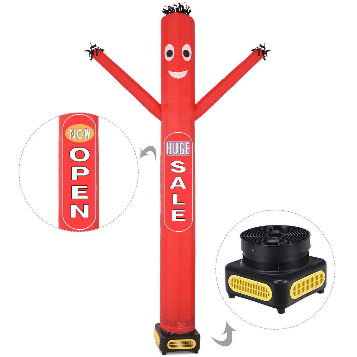 Costway 10ft Inflatable Dancer Puppet Tube Man Removable Slogans With Blower Red by Costway