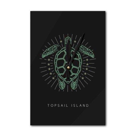 Topsail Island, North Carolina - Neon Turtle - Lantern Press Artwork (Acrylic Wall (Carolina Neon Wall Clock)