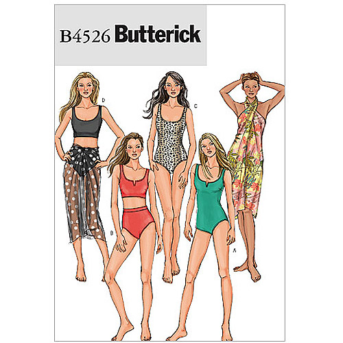 Butterick Pattern Misses' Swimsuit and Wrap, EE (14, 16, 18, 20)