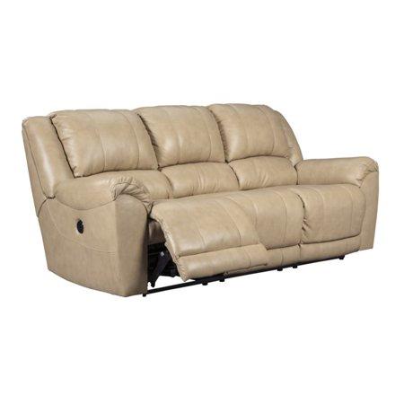 Ashley Yancy Power Reclining Leather Sofa In Galaxy