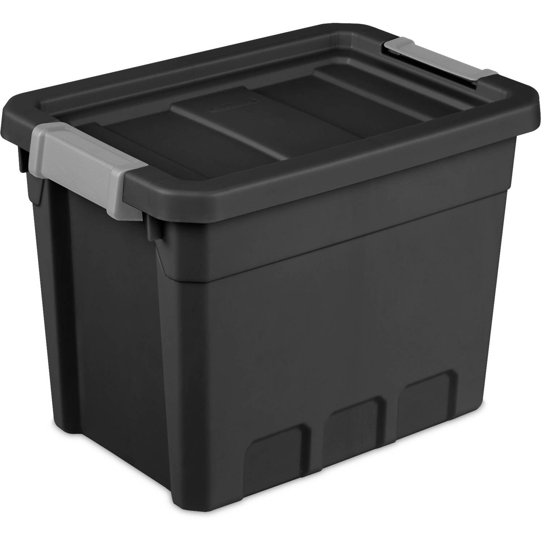 Sterilite 7.5 Gallon Stacker Tote- Black, Case of 6