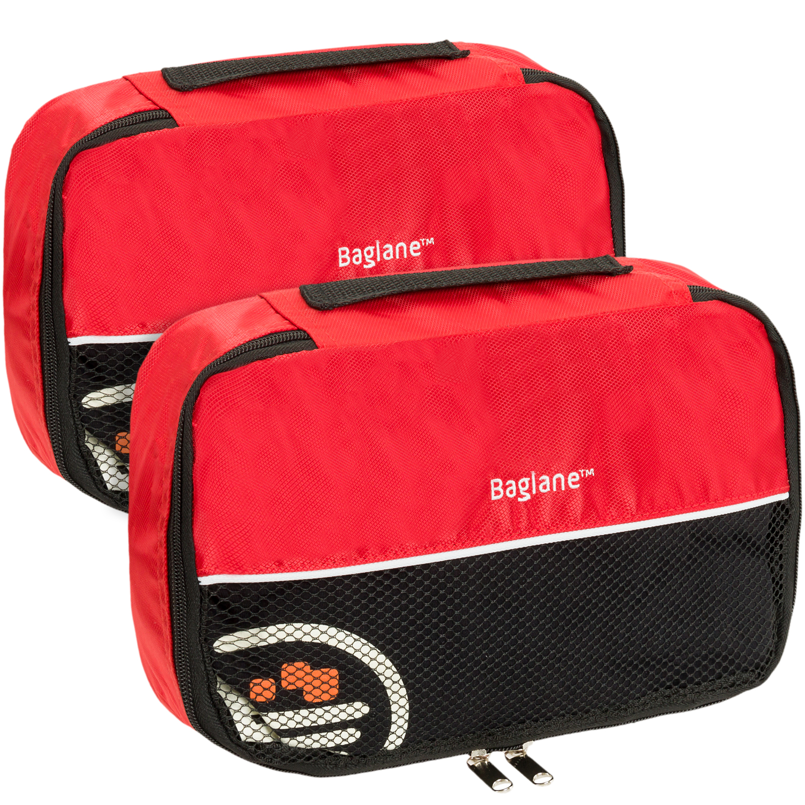 Baglane Packing Cube Bag - TechLife Nylon Travel Luggage - 2pc Set (Red, Small)