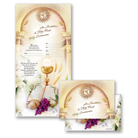 First Communion Chalice Bible Design Boy or Girl Unisex Invitations 8 (Communion Invitation Wording)
