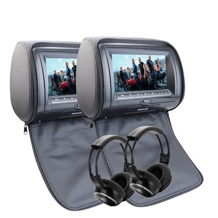 Black Pair Of Headrest 7 Inch Lcd Car Pillow Monitors With Region Free Dvd Player Dual Twin Screens Usb Sd 32 Bit Games Car Dvd Headrest With Remote Control And Pair Of Infrared Headphones