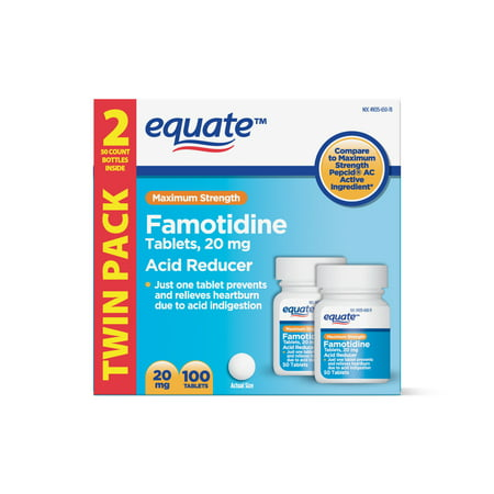 Equate Maximum Strength Famotidine Acid Reducer Tablets, Twin Pack, 20mg, 100 - Circle Reducer