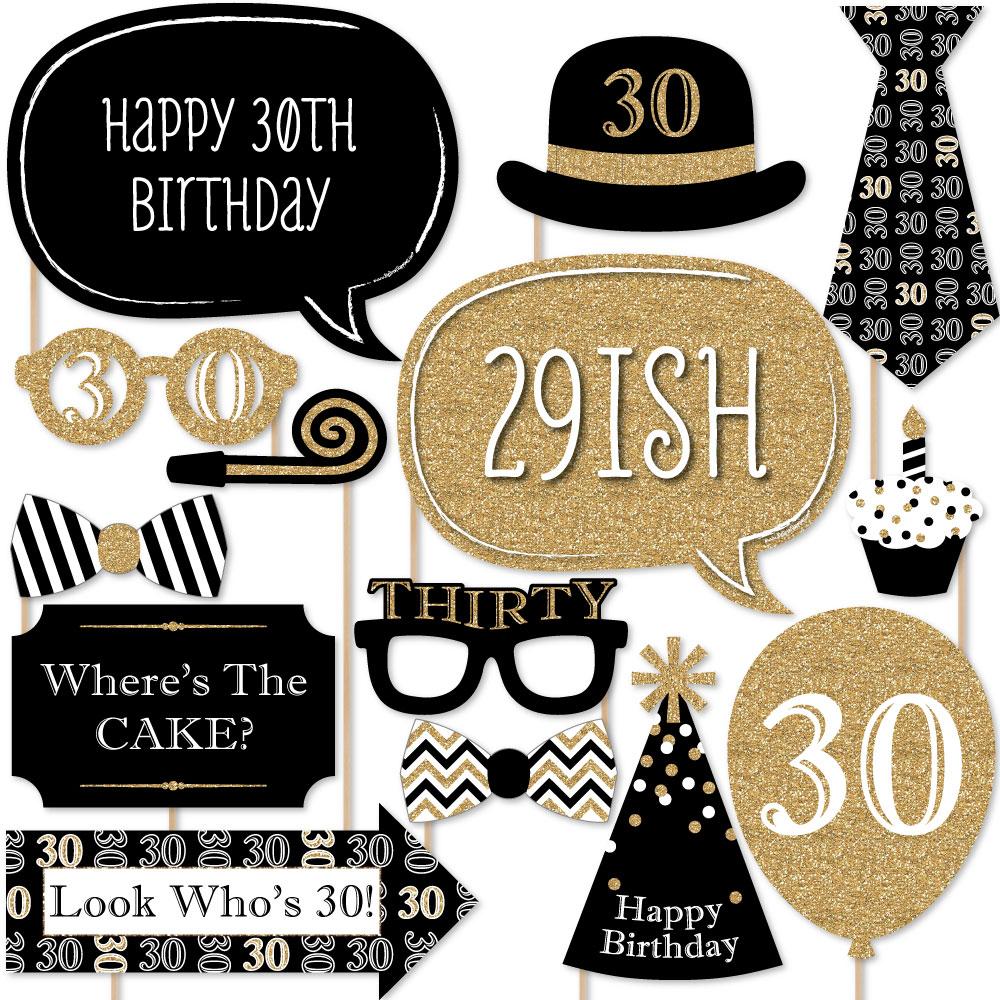 Adult 30th Birthday - Gold - Birthday Party Photo Booth Props Kit - 20 Count