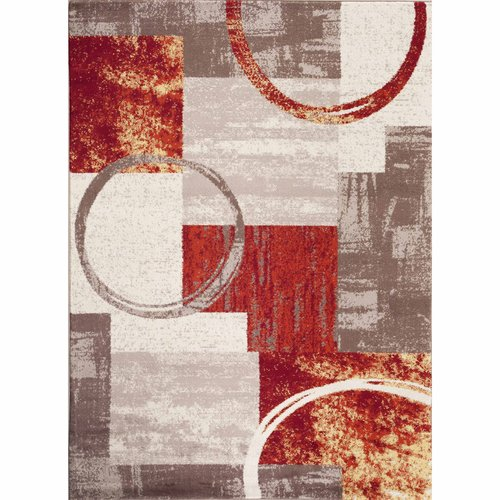 World Rug Gallery Contemporary Abstract Circle Design Indoor Area Rug
