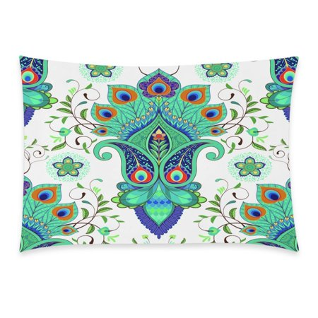 YKCG Home Bathroom Decor Floal Paisley Peacock Pillowcases Decorative Pillow Cover Case Shams Standard Size for Couch Bed-Blue Green White Colorful-20x30 Inch-Paisley Flower Peacock -