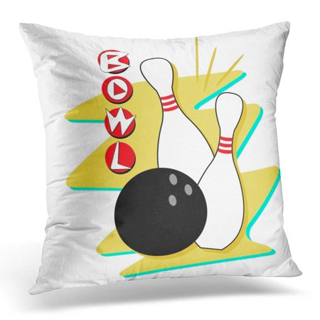 CMFUN Vintage Retro Styled Bowling Clip Fully Scalable and 1950S Pillow Case Pillow Cover 20x20 inch (1950s Bowling)