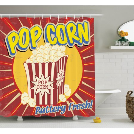 1950S Decor Shower Curtain Set, Vintage Grunge Style Pop Corn Commercial Print Old Fashioned Cinema Movie Film Snack Artsy Work, Bathroom Accessories, 69W X 70L Inches, By Ambesonne