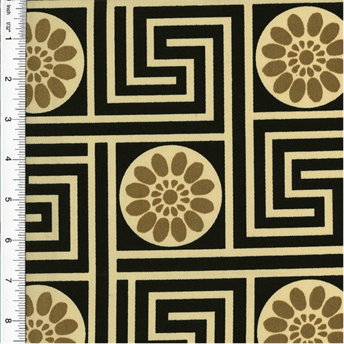 Designer Cotton Key Black/Beige King Maze Print Home Decorating Fabric, Fabric By the Yard