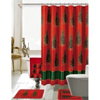 Product Image The Holiday Aisle Christmas Bathroom Decor 18 Piece Nature Floral Shower Curtain Set