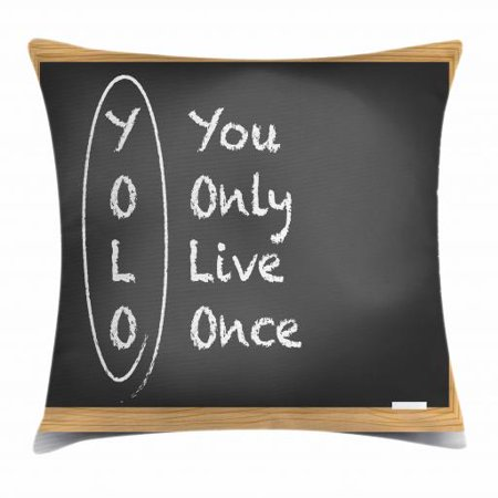 YOLO Throw Pillow Cushion Cover, Chalkboard Background Abbreviation Classroom Themed Illustration, Decorative Square Accent Pillow Case, 18 X 18 Inches, Charcoal Grey Pale Brown White, by Ambesonne