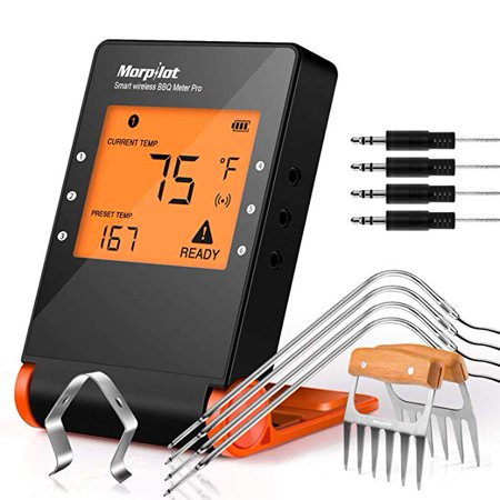 Wireless Remote Digital Cooking Food Meat Thermometer BBQ Grill Thermometer with 4 Probe for Smoker Grill Oven BBQ Kitchen Cooking