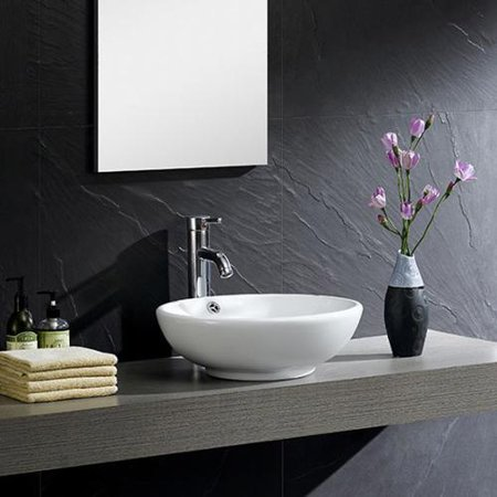 Fine fixtures modern white vitreous china round vessel for Are vessel sinks out of style