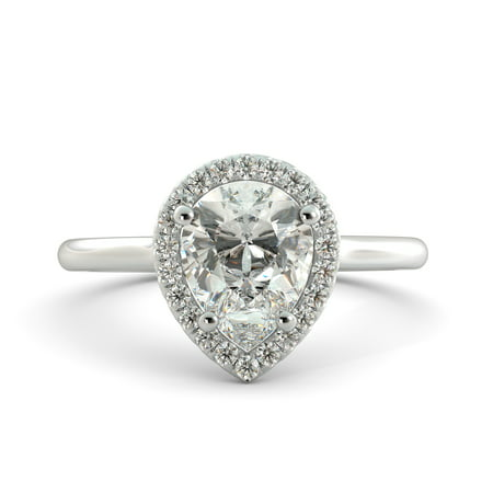 1.36 ct Pear Cut Brilliant Moissanite & Round Diamond Engagement Ring 18kWhite - Moissanite Square Brilliant Cut