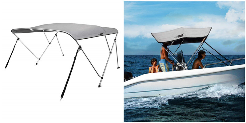 "BIMINI TOP BOAT COVER CANVAS FABRIC GREY W//BOOT FITS 3 BOW 72/""L 36/""H 79/""-84/""W"