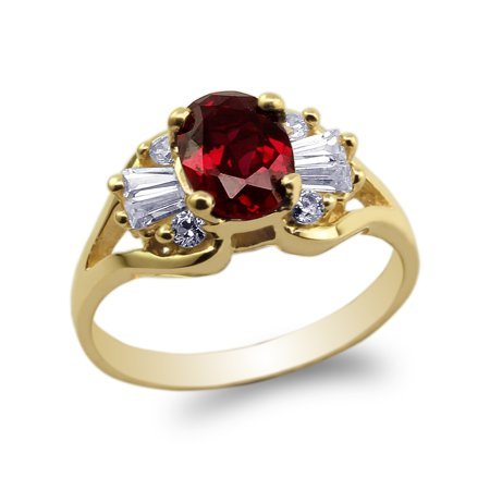 Yellow Gold Plated 1.25ct Oval CZ Red Beautiful Band Ring Size 4-10
