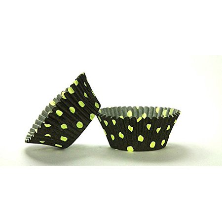 50pc Hot Dot Design Black With Lime Dots Standard Size Cupcake Baking Cups Liners Wrappers