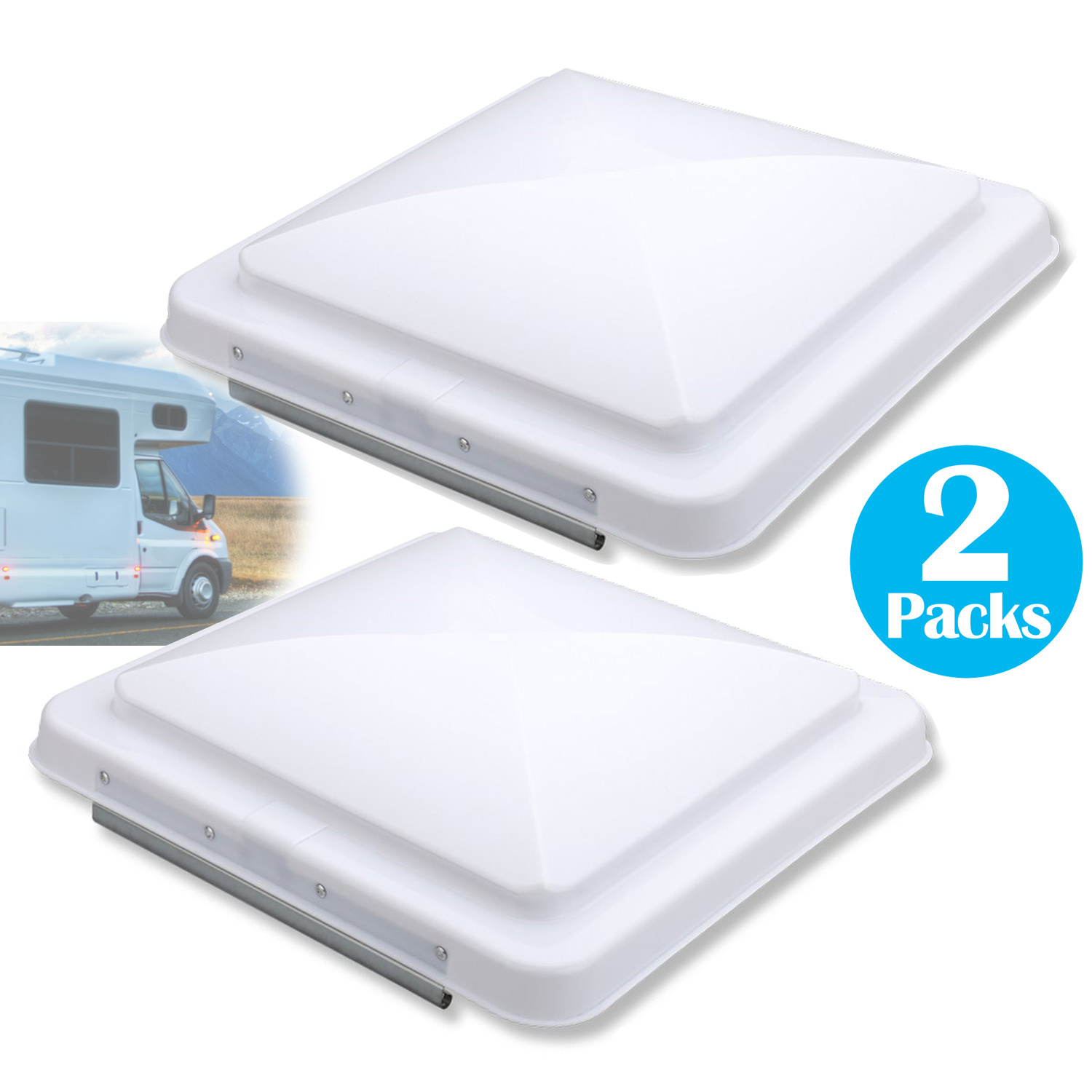 """2 Packs car RV Vents Replacement RV Roof Vent Cover 14""""x 14"""" White Vent Lid for Camper Trailer Motorhome"""