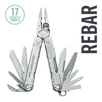 LEATHERMAN - Rebar Multitool with Premium Replaceable Wire Cutters and Saw - Stainless Steel with Leather Sheath