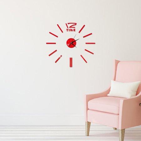 Modern DIY Wall Clock 3D Stirpes Analog Watch Clock Sticker Art Decal for Home Decor Color:Gold - image 1 de 8
