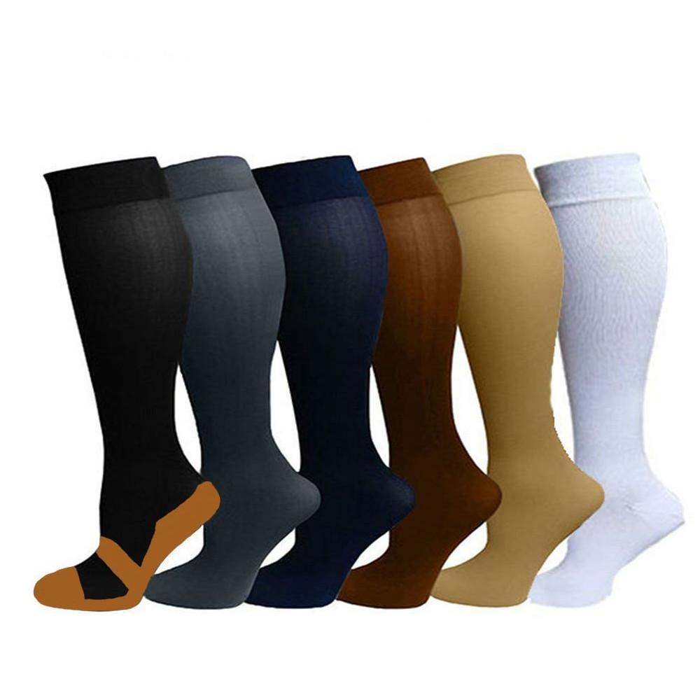 New Comfortable Arch Support Knee High Compression Socks For Men & Women - 6 Pack