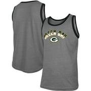 Green Bay Packers New Era Ringer Tri-Blend Tank Top - Heathered Gray