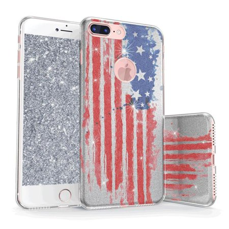 iPhone 8 Plus Glitter Case, True Color Sparkase Sparkly American Flag Print Three-Layer Hybrid Girly Case with Shockproof TPU Outer Cover on Silver