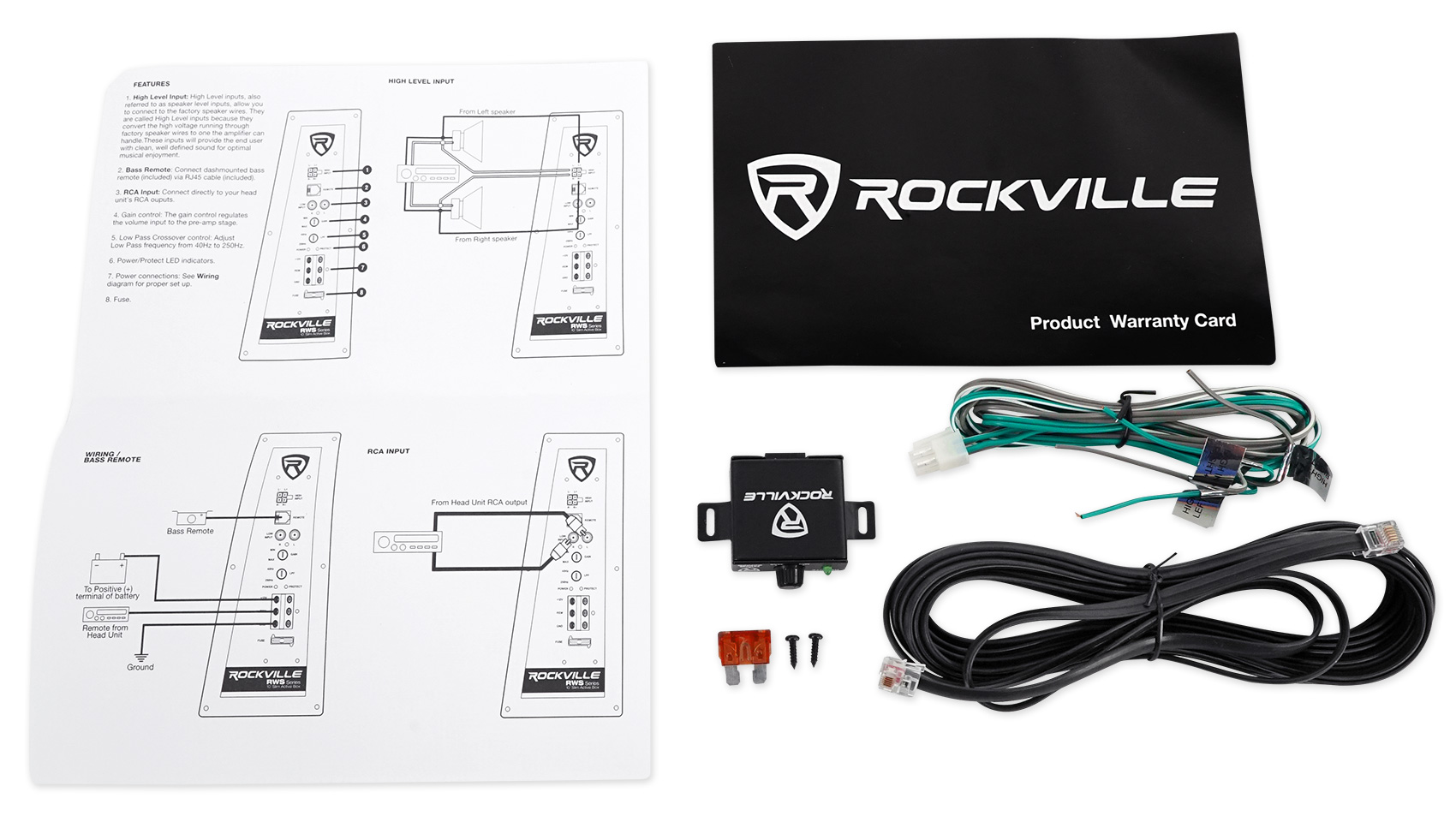 Rockville Wiring Diagram Library 5 Pole Relay Muncie Pto System Rws12ca Slim 1200 Watt 12 Powered Car Subwoofer Enclosure Wire Kit Walmart