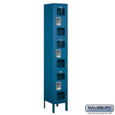 Triple Tier 1 Section Assembled (12 in. Triple Tier See-Through Metal Locker - Assembled, Blue - 6 ft. x 1 x 12 in.)
