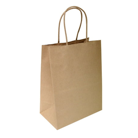 "8""x4.75""x10"" - 50 pcs - Natural Brown Kraft Paper Bags, Shopping, Mechandise, Party, Gift Bags"