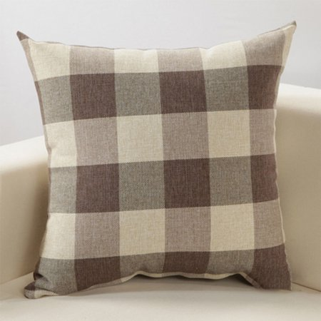 Grid Pattern Style Home Decor Fashion Design Soft Pillow Case Sofa Cushion Cover (Without Pillow) Color:Coffee grid