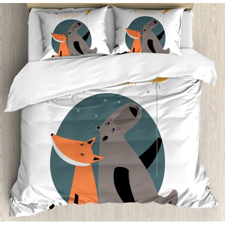 I Love You Queen Size Duvet Cover Set Bear And Fox In