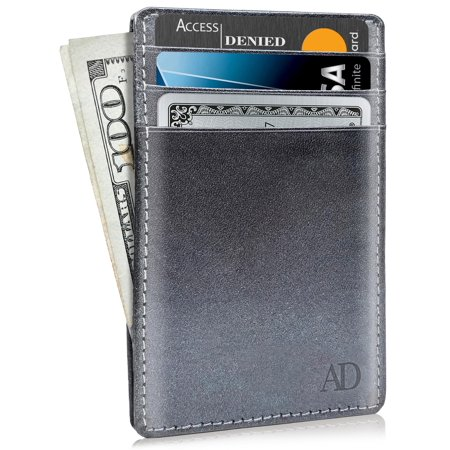 d5e98c5d6096 Slim Minimalist Wallets For Men & Women - Genuine Leather Credit Card Holder  Front Pocket RFID Blocking Wallet With Gift Box