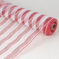 White with Red  - Poly Deco Mesh Wrap with Laser Mono Stripe -  ( 21 Inch x 10 Yards )